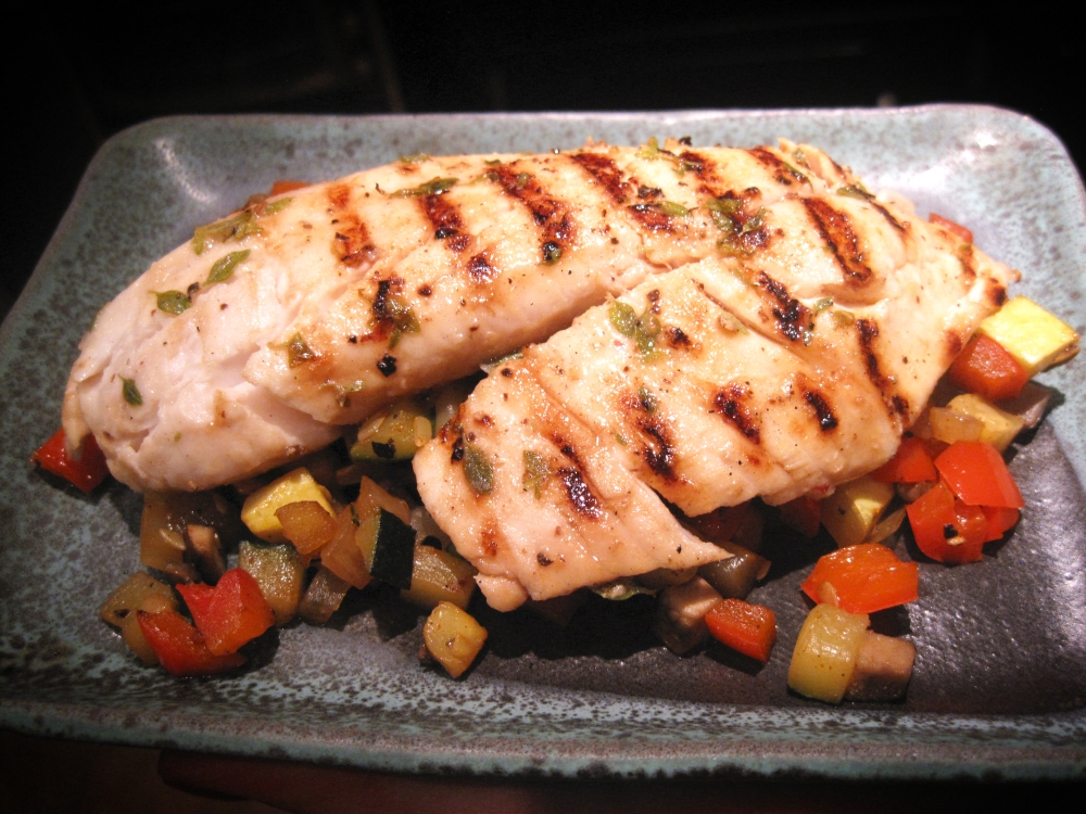Grilled Tilapia over Brunoise of Provençal Vegetables (1/6)